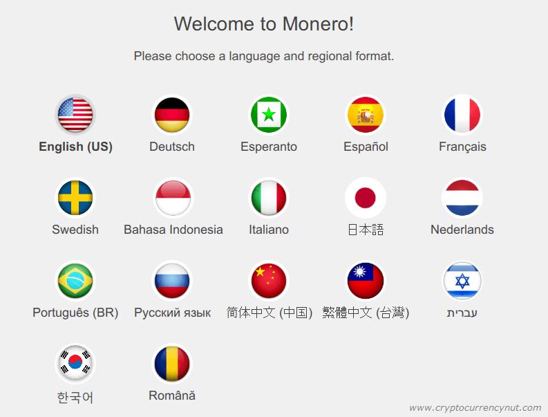 monero wallet language selection