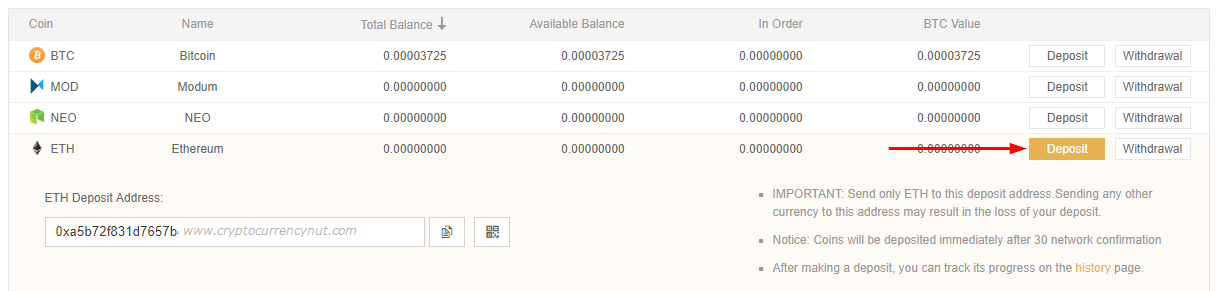 buy ripple binance deposit address
