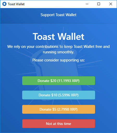ripple wallet support toast