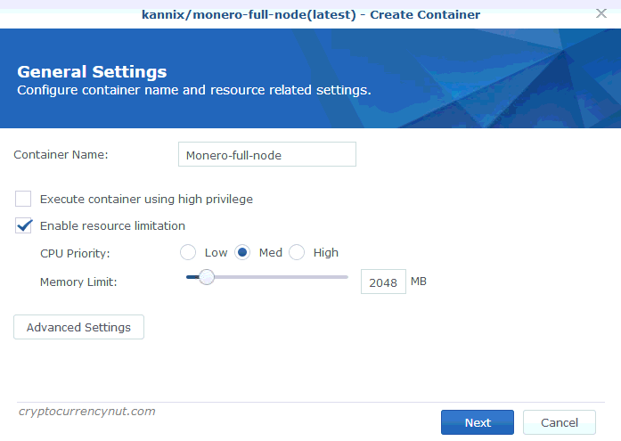 Synology docker create container