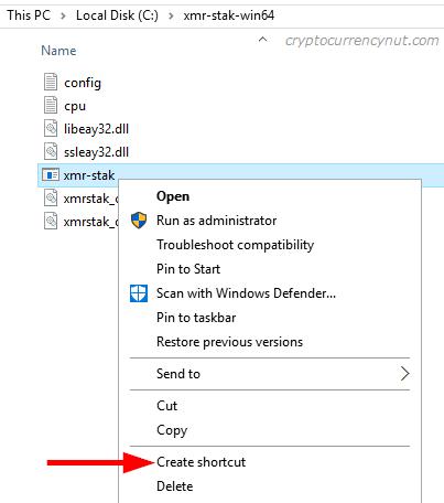 xmr-stak shortcut
